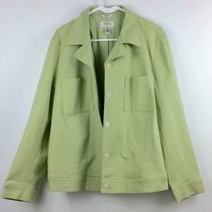 Talbots pale lime green button up jacket-18w